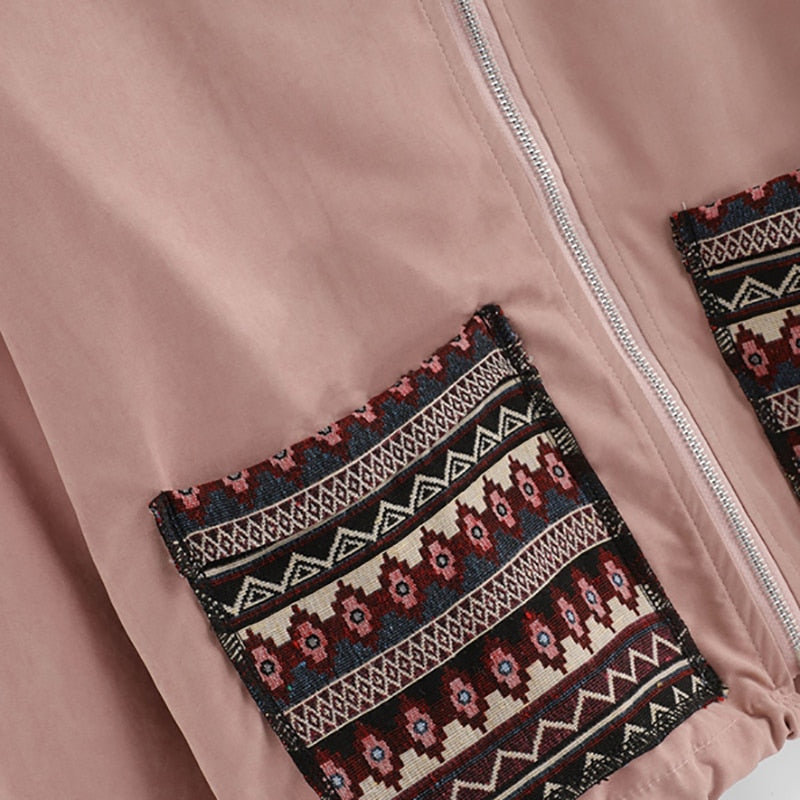 Pink Pocket Front Zip Up Jacket - YOUTAAS