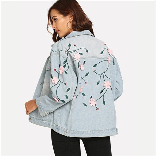 Blue Flower Applique Pocket Casual Denim Jacket - YOUTAAS