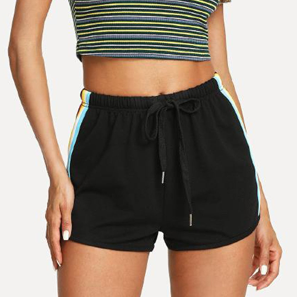Black Patchwork High Waist Shorts - YOUTAAS