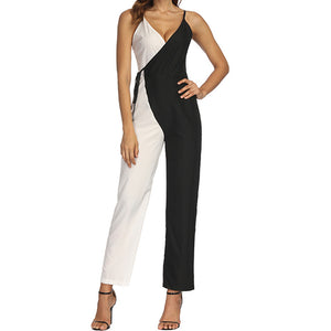 Causal Color matching Sleeveless Jumpsuit