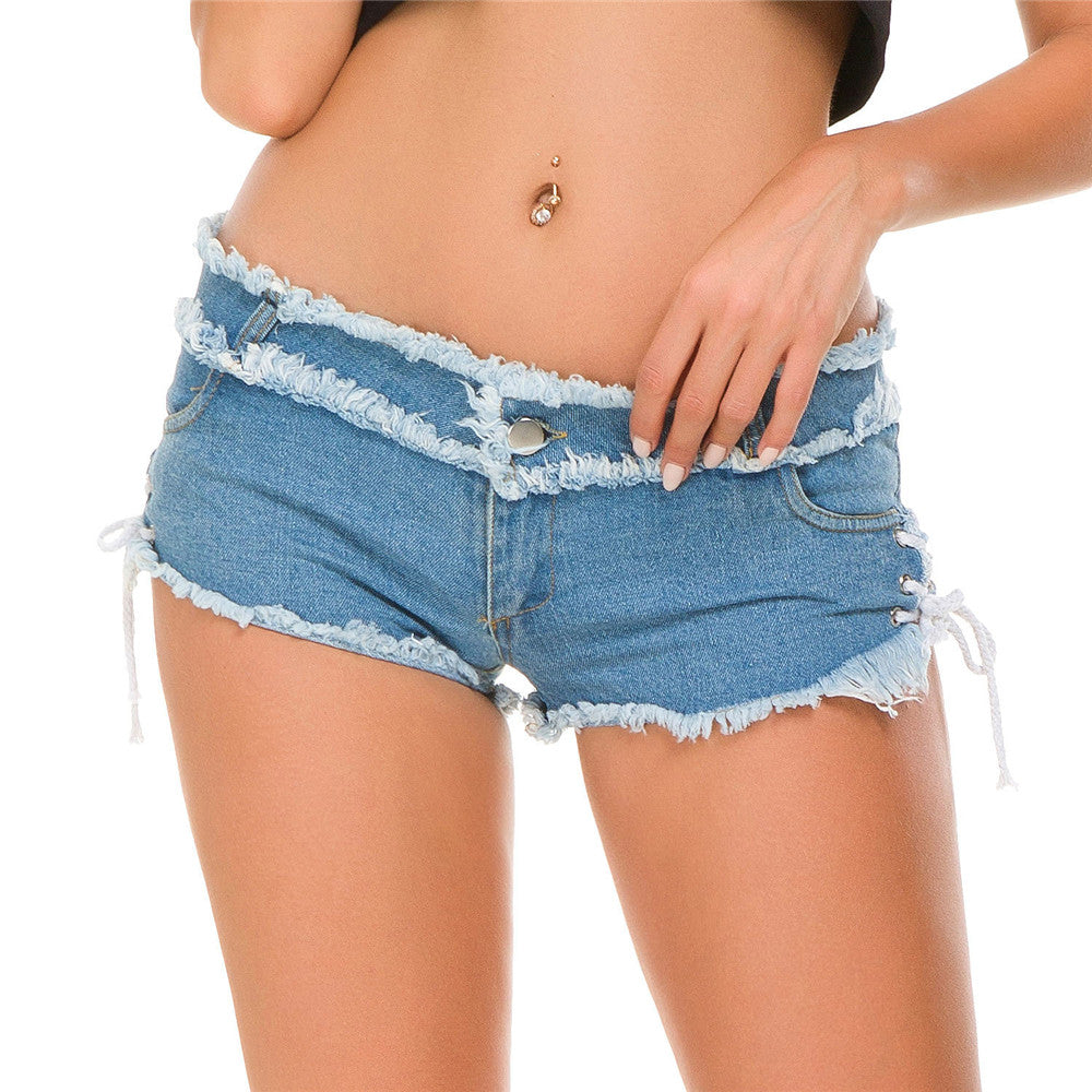 Pure color pocket Lateral lace Shorts - YOUTAAS