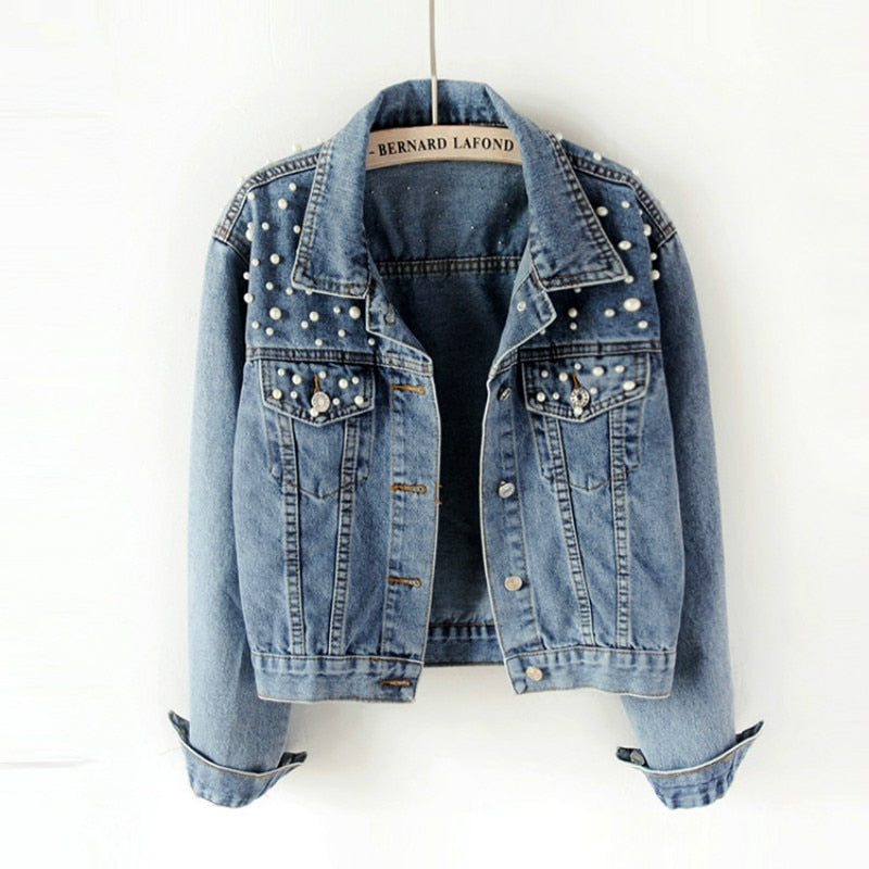 Pearl Beading Crop Denim Jacket - YOUTAAS