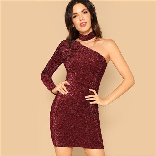 Maroon One Shoulder Bodycon Glitter Dress With Choker - YOUTAAS