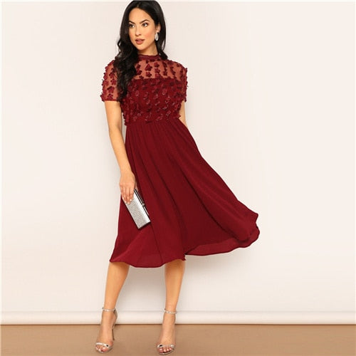Short Sleeve Flared Midi Dress - YOUTAAS