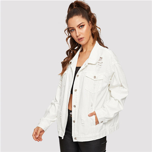 Ripped Drop Shoulder Denim Jacket - YOUTAAS