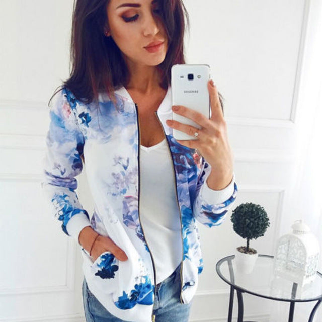 Printed Bomber Pockets Zipper Long Sleeve Coat - YOUTAAS