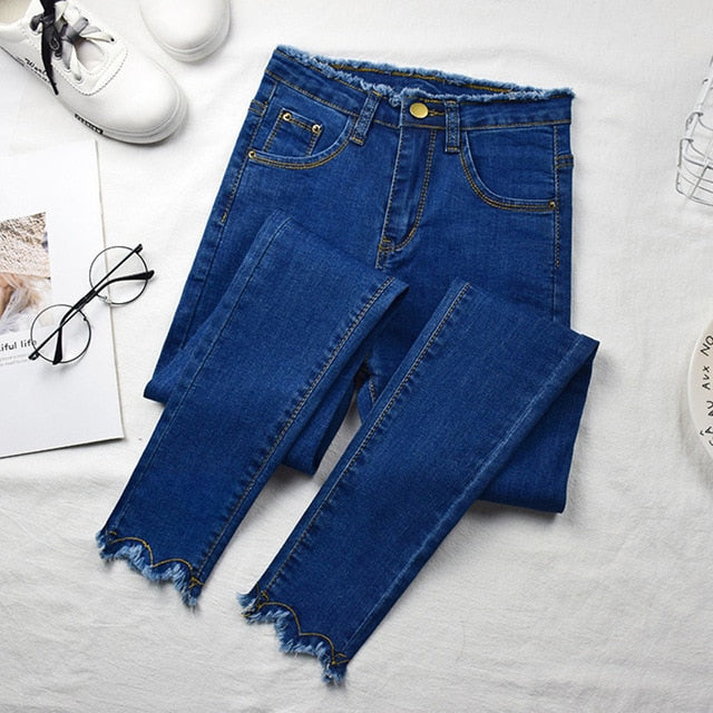 Elastic High Waist Pencil Washed Jeans - YOUTAAS
