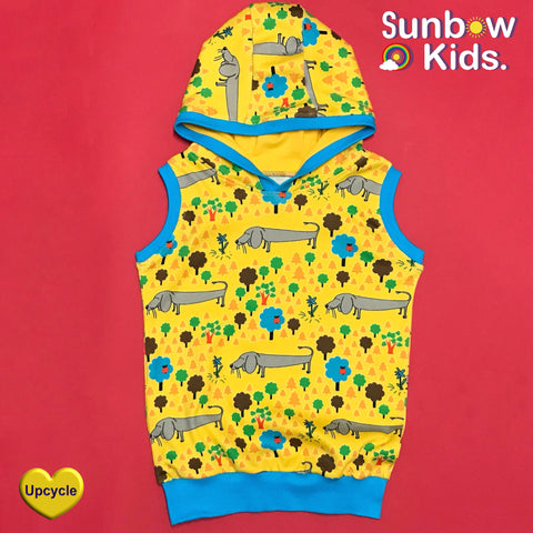 Upcycled duns of Sweden dog dress into a sleeveless hoodie by Sunbow kids handmade clothing uk