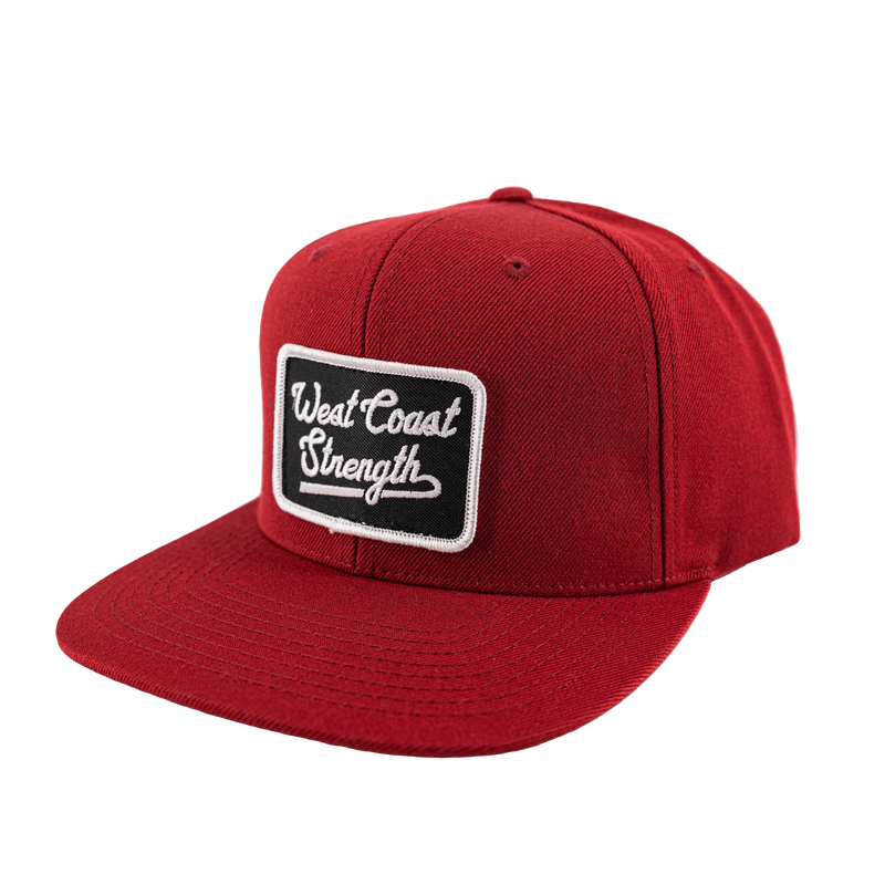 West Coast Strength Snapback Full Wool hat - Maroon/Black
