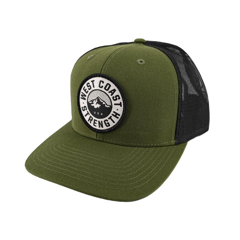 West Coast Strength Snapback Flat Bill Trucker hat - Olive/Black