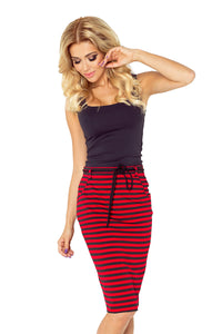Numoco Skirt with pockets and drawstring - striped red-black 127-1