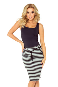 Numoco Skirt with pockets and drawstring - striped gray-black 127-2