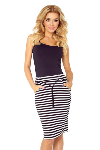 Numoco Skirt with pockets and drawstring - striped white-black 127-3