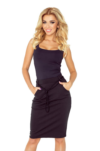 Numoco Skirt with pockets and drawstring - black 127-4