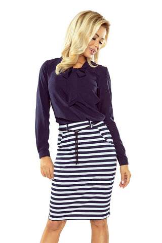 Numoco Skirt with pockets and drawstring - striped white-navy blue 127-5