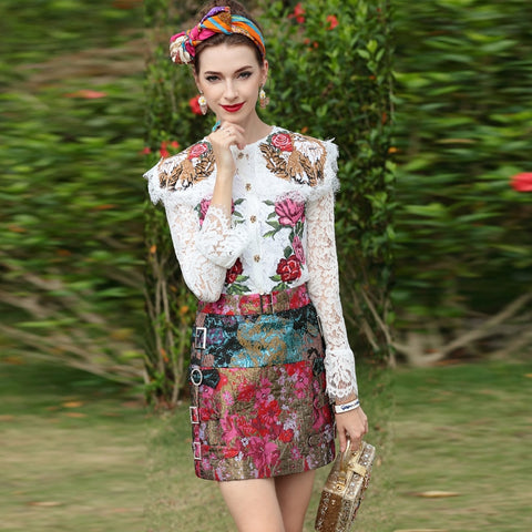 High Street Fashion Suit Sets Long Sleeve Embroidered Lace Top and Vintage Jacquard Mini Skirt