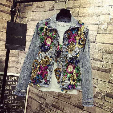 Spring Denim Embroidery Rose Floral Beading Pearl Sequin Patch Bomber Jacket