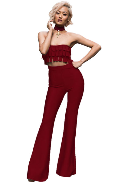 Rust Red Frilled Crop Top High Waist Pant Set