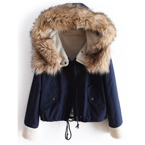 Winter Parka mit Kaputze Faux Fur Navy