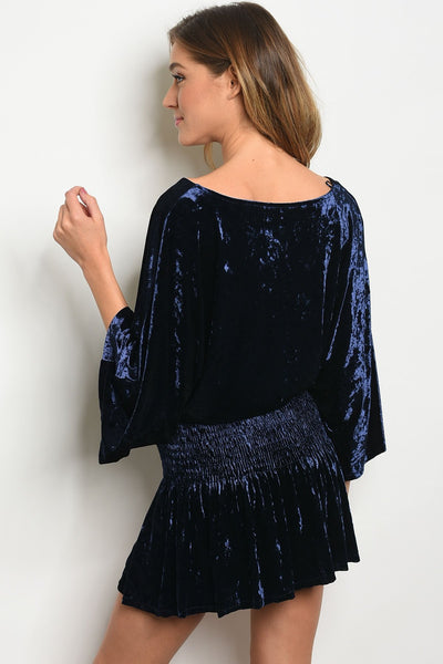 Womens Navy Velvet Dress
