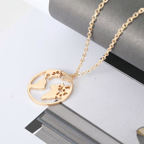 Fashion Jewelry Woman Necklace Geometric World Map Chain Statement Necklace Bohemian