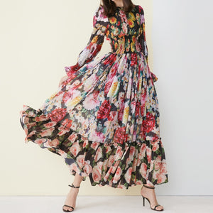Long Sleeve Amazing Printed Waist Elasticated Vintage Beach Chiffon Long Dress