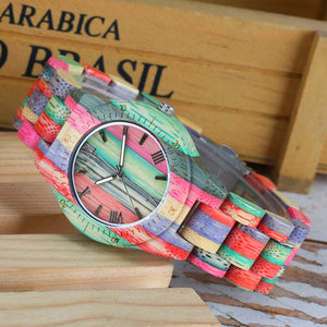 Men Women Fashion Colorful Wood Bamboo Watch Quartz Analog Handmade Full Wooden