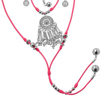 Load image into Gallery viewer, XXL Kette Pink-Silber mit Amulett