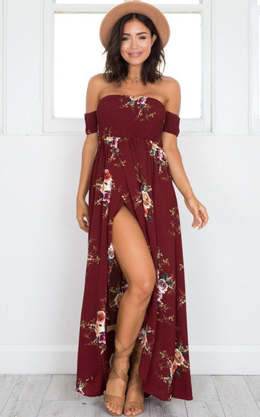Boho Style Off Shoulder Flower Print Maxi Dress