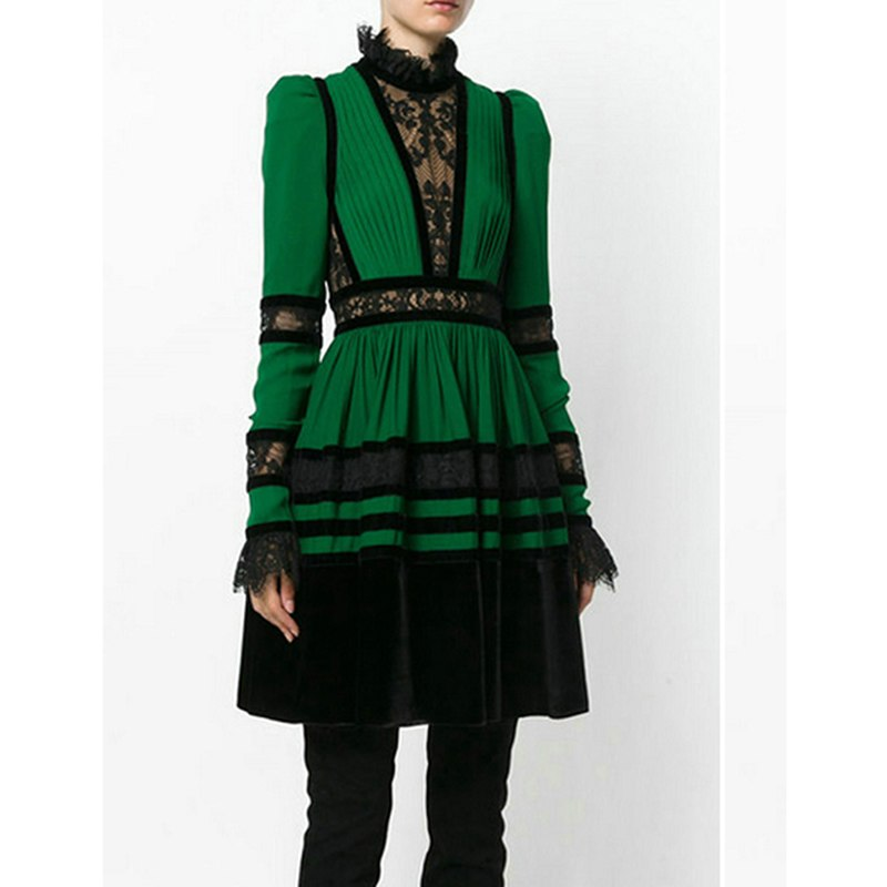 Stylish Color Block Spitzen Patchwork Kleid
