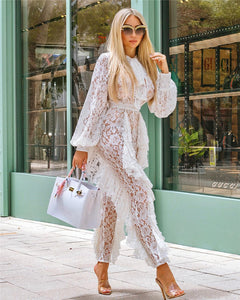 "Jumpsuit ""Vibe is Everything"" Lace and Ruffles"