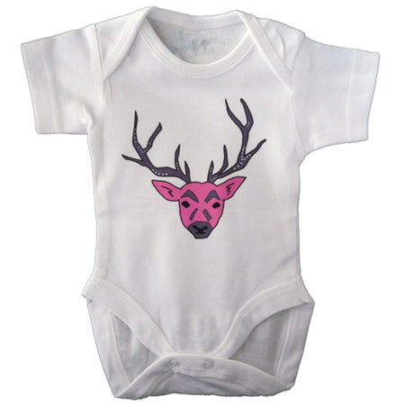 Pink Stag baby vest