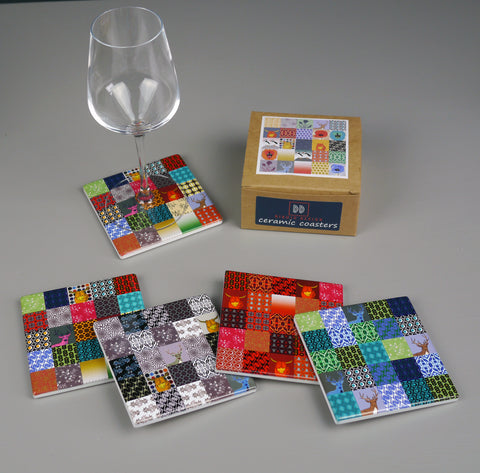 Patchwork Ceramic Coasters