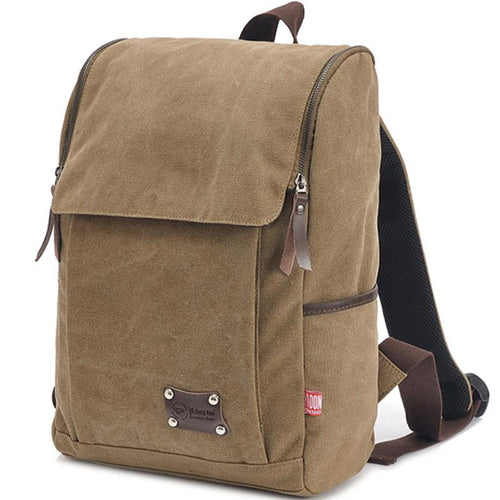 Men's large capacity Canvas Backpack Backpack Khaki