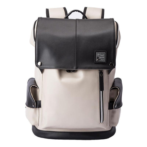 PU leather Men Casual backpack Backpack Black and white