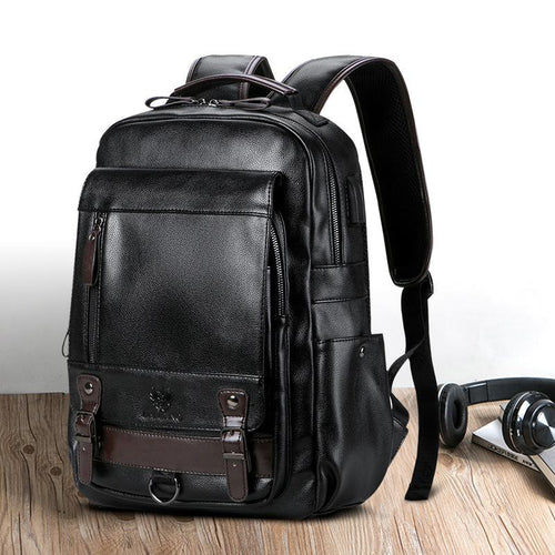 Men's Travel PU Leather multifunction Laptop Backpack Backpack Black