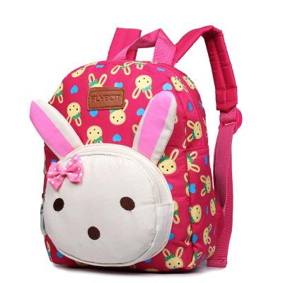 Funny bunny bear children's backpack Backpack Mei red