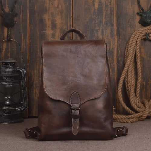Vintage Genuine Cow leather Men's fashion backpack Backpack Coffee