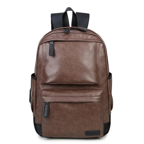 New men's travel fashion pu backpack Backpack Brown