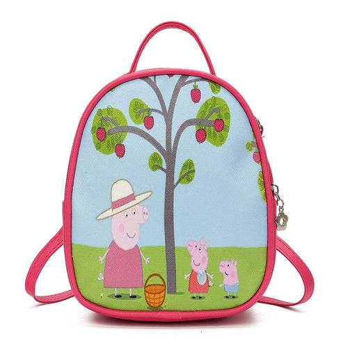 Cartoon pink piggy Small Backpack Backpack Mei red
