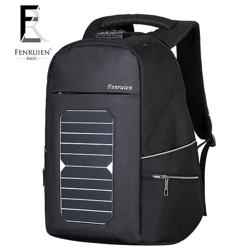 Solar charge outdoor business 15 inch Laptop Backpack Backpack Black