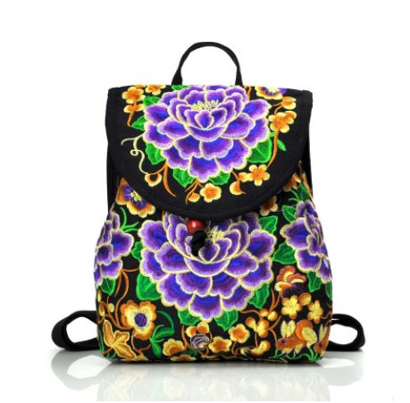Embroidered Women backpack with embroidered shoulders Backpack Purple S