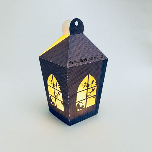 3D Window Cat and Bird Lantern - SVG PDF