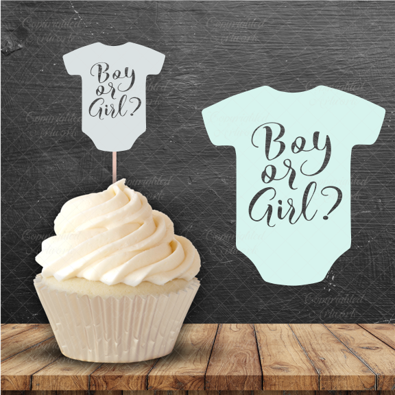 Gender Reveal Onesie Cake Topper - SVG