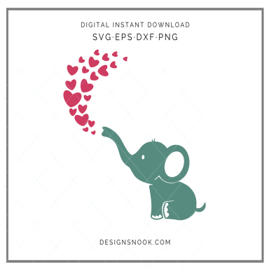 Baby elephant breathing hearts - SVG