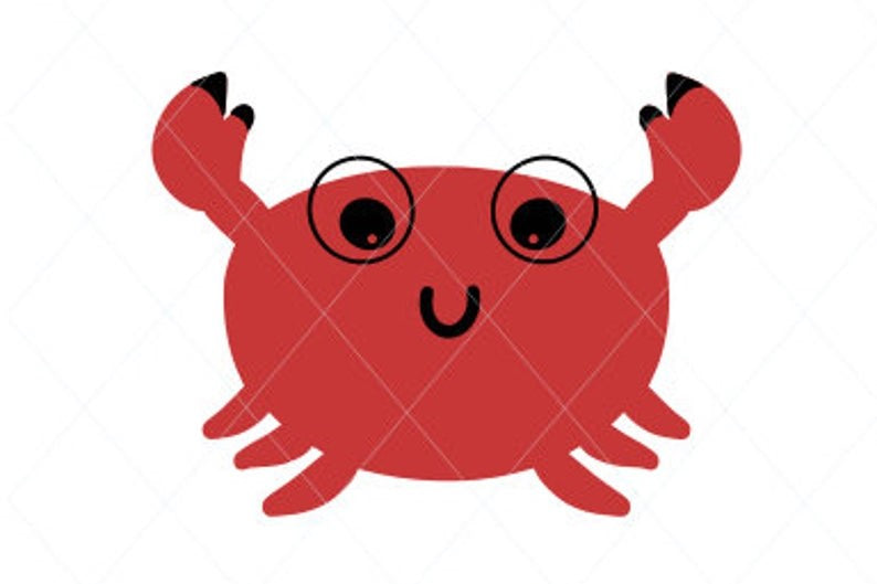 Baby crab svg, crab cut file, crab clip art, crab vector, smiling crab, cute crab, sea animal, decal sticker stencil transfer vector d11