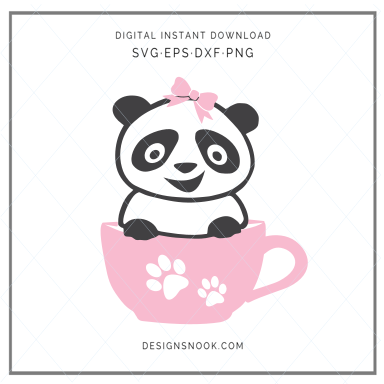Baby Panda in a cup - SVG