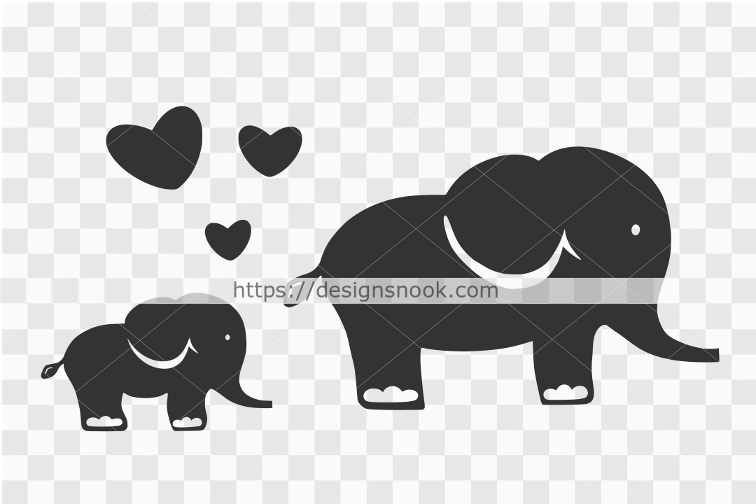 Mom and baby elephant - SVG