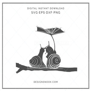 Cute snails under leaf umbrella - SVG