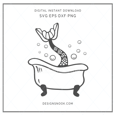 Mermaid tail tub - SVG